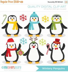 ON SALE  Digital Clipart  Wintery Penguins Clip by MyClipArtStore