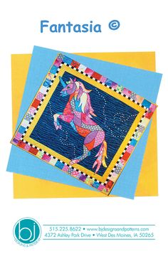 Fantasia whimsical quilt that finished 30 X 30 from Bjs Designs #quiltnbee #quilting #bjsdesigns #applique #unicorn