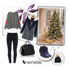 """""""Striped Heart Print Sweater"""" by nermina-okanovic ❤ liked on Polyvore featuring Paige Denim, Givenchy, rag & bone and shein"""