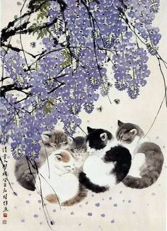 Kittens under lavender flowering tree Animals Watercolor, Asian Cat, Imagenes My Little Pony, Illustration Art, Illustrations, Japanese Cat, Cat Drawing, Chinese Art, Crazy Cats
