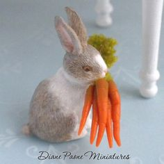 Bunny Rabbit w/ Bunch of Carrots - Dollhouse Miniatures Easter $10.99