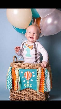 HOT AIR BALLOON Birthday Highchair High Chair by RawEdgeSewingCo