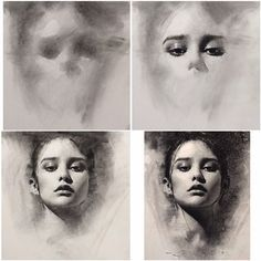4 stages of charcoal portrait drawing - general to specific approach by Casey Baugh. My teacher keeps telling me to do this, ive got to remember!