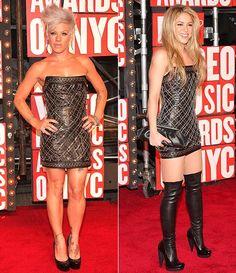 Shakira and (right) Pink in Balmain