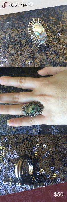 Kendra Scott Owen Ring Abalone shell set in gunmetal. Size 6 Kendra Scott Jewelry Rings