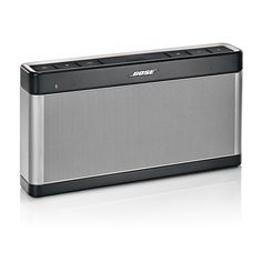 Bose SoundLink Bluetooth Speaker III. Connects wirelessly to your smartphone, tablet or other Bluetooth device . Sound performance unlike any other mobile speaker this size. Curved edges and thin profile for easy grab-and-go portability. Silicone button panel protects from dirt and dust; Rechargeable battery plays up to 14 hours.