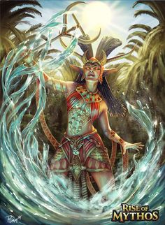Anuket (Anqet) - the goddess of the river Nile; a daughter of Satet and Khnemu (Khnum); wears a crown of ostrich feathers