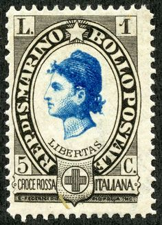 "1923 Scott B24 1l + 5c black & blue ""Liberty"" Out of the Blue I've been more interested in obtaining the classical era stamps of San Marino than, perhaps, most other countries. Could it be that child in me that still equates ""tiny"" and ""rare""? ;-)  Note: Maps, ""Coat of Arms"" image, and border pic of San Marino during WW II appear to be in the public domain."