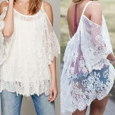 Hot Vintage Hippie Boho Off Shoulder Embroidery Floral Lace Crochet Mini Party Tops Dress Black White