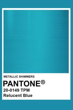 Relucent Blue #Metallic #Pantone #Color Pantone Colour Palettes, Pantone Color, Pantone Turquoise, Armadura Medieval, Blue Colour Palette, Color Harmony, Metallic Blue, Color Stories, Color Swatches