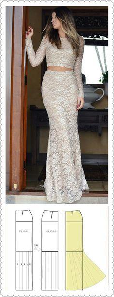 Vestido fiesta agus Fashion Design Template, Pattern Fashion, Skirt Patterns Sewing, Blouse Patterns, Hijab Evening Dress, Evening Dresses, Sewing Clothes, Diy Clothes, Mermaid Skirt Pattern
