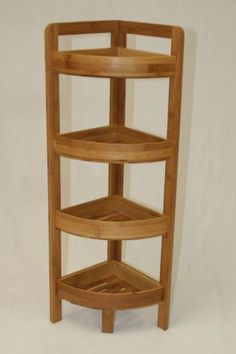 eHemco 4 Tier Bamboo Corner Shelf in Dark Oak Corner Rack, Corner Unit, Corner Shelves, Display Shelves, Cube Bookcase, Kids Bookcase, Etagere Bookcase, Corner Kitchen Pantry, Kitchen Pantry Cabinets
