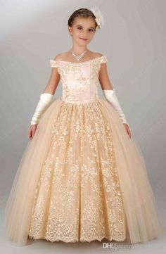 Princess 2015 Little Flower Champagne Lace Tulle Off Shoulder Ball Gowns Girl Wedding Dresses Kid'S Pageant Gowns First Communion Dress Toddler Bridesmaid Dresses Tutu Flower Girl Dress From Bestoffers, $173.09| Dhgate.Com
