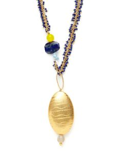 Lapis Bead, Grey Agate & Gold Pendant Necklace by Alanna Bess Jewelry on Gilt.com