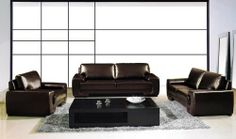 "New 3pc Contemporary Modern Leather Sofa Set #AM-123-B-BROWN by UTM. $2399.00. * All of the seats and backs are high density (1.9) foam to give comfort and support. UTM 3 pcs contemporary modern leather sofa set will include ONE sofa + ONE love + ONE CHAIR. * Solid wood frame use in the sofa construction. * All corners are "" blocked"", nailed and glued for strength and durability. * It is made of 100% selected premium soft bonded leather. Available Colors See above picture, D..."