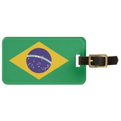 Brazil flag Brazilian luggage tag
