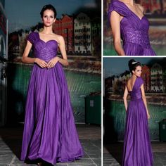 One Shoulder Sweetheart Pleast Prom Gown