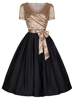 Lindy Bop 'Gina' Vintage 50's Glamourous Black & Gold Tea Party Dress (S, Gold Black) Lindy Bop http://www.amazon.com/dp/B00P67R06Y/ref=cm_sw_r_pi_dp_DhGPub0TCHF2G