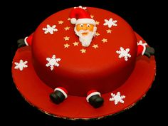Image detail for -Santa Christmas Cake with father Christmas, snowflake and stars