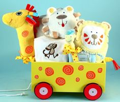 Newborn Baby Gift-Giraffe Plush Welcome Wagon -- Nothing says welcome to the world more distinctively than this Giraffe Welcome Wagon®. A unique baby gift in every way, this is just one of several new & exciting animal plush and wood wagons filled with wonderful layette items for a newborn baby.