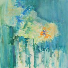 FLOWERS IN GREEN - SOLD Acrylic on Canvas, 40 x 40 x 2 cm #www.aaselind.dk  -  #www.aaselind.com