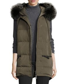 Fur-Trimmed+Hooded+Puffer+Vest,+Loden+by+Derek+Lam+at+Neiman+Marcus.