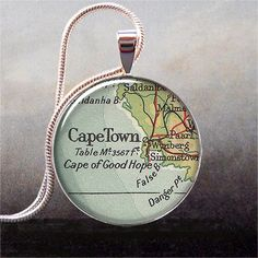 Cape Town map pendant South Africa map by thependantemporium, $9.25