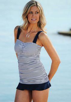 Modest Swimsuit - Ruffle Ruched Tankini (nautical blue stripe)