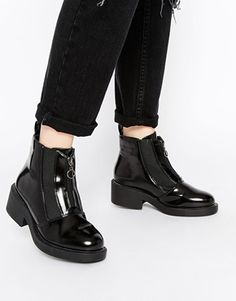 Truffle Collection Cori Front Zip Chunky Ankle Boots