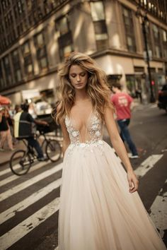 Find Berta Embellished Plunging V-Neck Tulle Gown online. Shop the latest collection of Berta Embellished Plunging V-Neck Tulle Gown from the popular stores - all in one Cheap Bridal Dresses, Cheap Wedding Dresses Online, Long Wedding Dresses, Tulle Wedding, Bridal Gowns, Stunning Wedding Dresses, Wedding Gowns, 2017 Bridal, 2017 Wedding