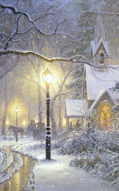 Vintage winter/christmas - Mark Keathley-😍 luv this Noel Christmas, Victorian Christmas, Vintage Christmas Cards, Christmas Pictures, Winter Christmas Scenes, Thomas Kinkade Christmas, White Christmas, Winter Szenen, Winter Magic