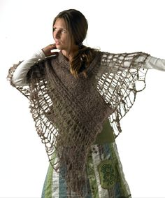 Tito - ponchoblouse. Knitted with drop stitches and felted.