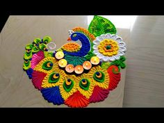 Easy & attractive with colorful peacock rangoli designs welcome 2019 by jyoti Easy Rangoli Designs Videos, Easy Rangoli Designs Diwali, Simple Rangoli Designs Images, Rangoli Designs Latest, Free Hand Rangoli Design, Rangoli Border Designs, Rangoli Patterns, Rangoli Ideas, Beautiful Rangoli Designs