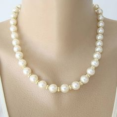 Faux Pearl Necklace Goldtone Spacers Vintage Jewelry