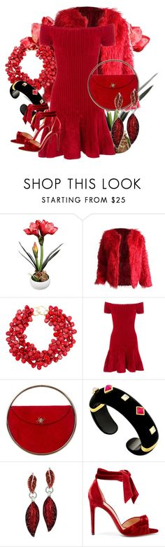 """""""Enter the Room in Red!"""" by tgtigerlily ❤ liked on Polyvore featuring Kenneth Jay Lane, Rails, Charlotte Olympia, Margot McKinney and Alexandre Birman"""