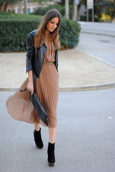 Leather with feminine dresses.