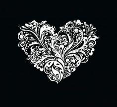tatuaggio cuore: In bianco e nero carta a forma di cuore Vettoriali