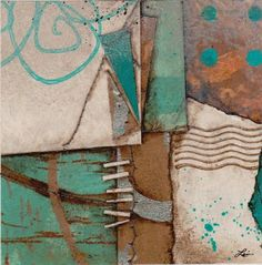 Collage art of Laura Lein-Svencner. Love the turquoise and copper color scheme Collage Art Mixed Media, Collage Artwork, Collage Ideas, Collage Artists, Mixed Media Artists, Fabric Journals, Cardboard Art, Abstract Images, Copper Color