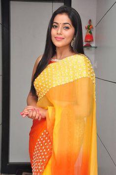 Poorna Latest Hot Stills In Orange Saree  actress Poorna