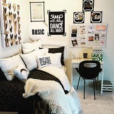 black and white - great dorm room decor ! ~ we ❤ this! moncheriprom.com