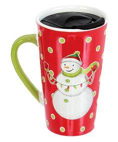 Loving this Red Snowman 18-Oz. Travel Mug on #zulily! #zulilyfinds