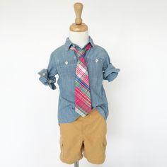 Love this boy's necktie in Raspberry Plaid www.tadpoleandlily.com