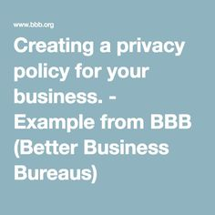 Creating A Privacy Policy For Your Business