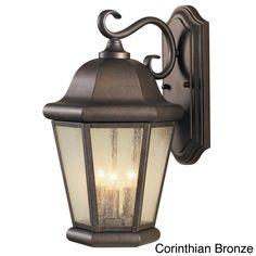 Martinsville 3-light Outdoor Wall Lantern (Corinthian Bronze), Brown (Glass)