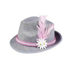 Gorro de bávaro gris con adorno de pluma rosa y flor  5f013b313e35a