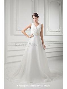 Organza V-Neckline A-line Sweep Train Embroidered Wedding Dress