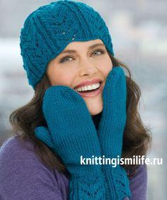 Комплект шапка и шарф«Кружевные листья»