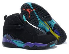 huge selection of a9c3b 8baa9 Air Jordan Retro 8 Black Purple Blue Discount Aqua, Jordan Sneakers, Cheap  Sneakers,