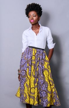 I'm really loving the beautiful designs from De-Mes'Tiks NYC by Brooklyn-based designer, Reuben Reuel. I especially love his midi skirts and rompers–the waxed cotton is gorgeous. Modest Fashion, Love Fashion, Fashion Models, Autumn Fashion, Fashion Design, African Textiles, African Fabric, African Prints, African Inspired Fashion