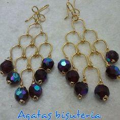 #alambrismo #aretes largos en cristales  bronce con enchape en oro